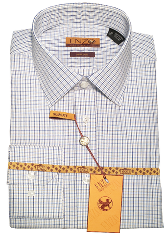 Blue Multicolor Check Cotton Barrel Cuff Slim Fit Dress Shirt