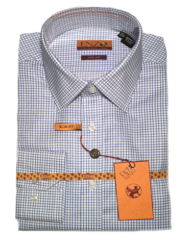 Blue Check Cotton Barrel Cuff Slim Fit Dress Shirt