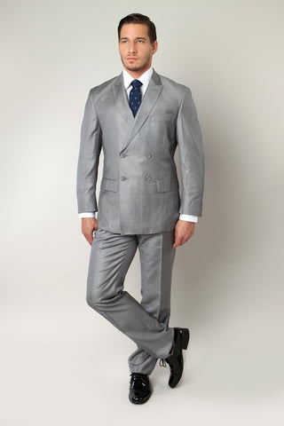 Grey Double Breasted Peak Lapel Slim Fit Suit