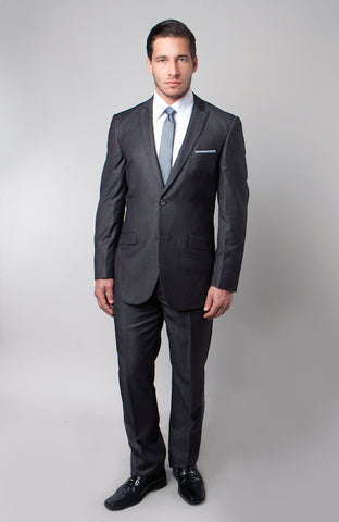 Grey Shiny Sharkskin Two Button Suit