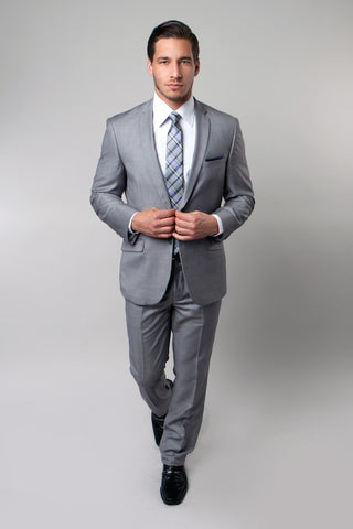 Light Grey Windowpane Check Slim Fit Suit