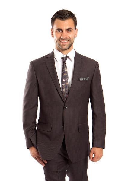 Grey 100% Wool Stripe Suit