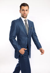 Indigo Blue Two Button Slim Fit Sharkskin Suit