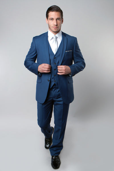 Indigo Blue 3 Piece Slim Fit Vested Suit