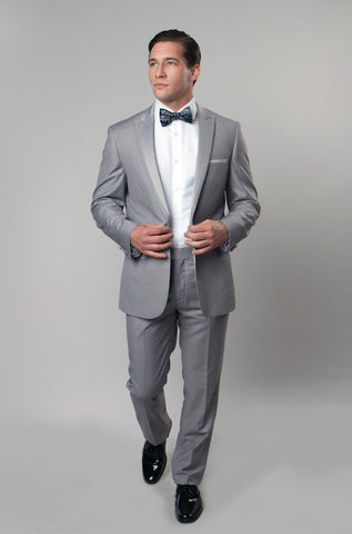 Light Grey 1 Button Peak Lapel Tuxedo