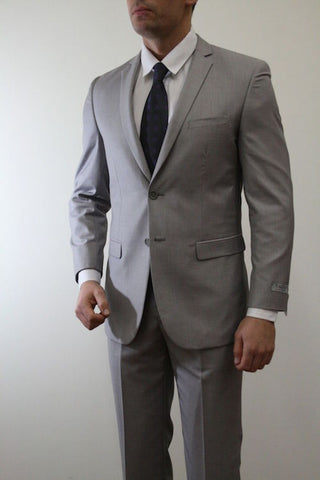Two Button Light Grey Slim Fit Suit