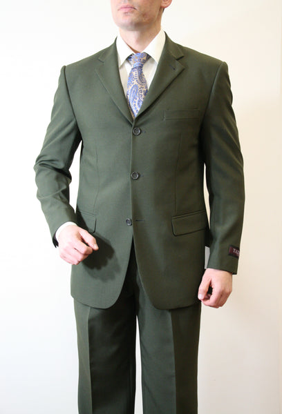 Dark Olive Green Formal 3 Button Modern Fit Suit