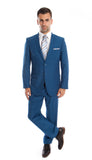 Two Button French Blue Slim Fit Suit