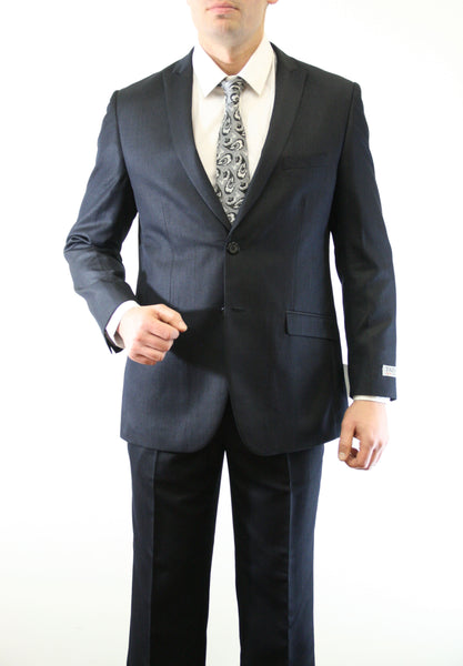 Black Shiny Sharkskin Two Button Suit