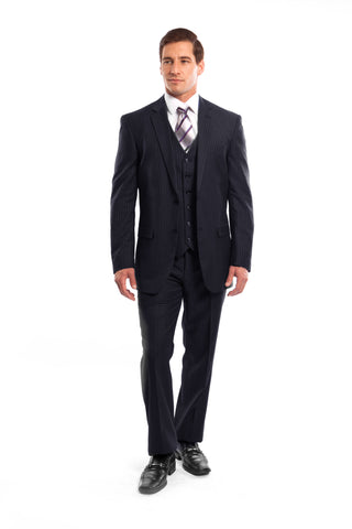 Navy Pinstripe Modern Fit 3 Piece Suit