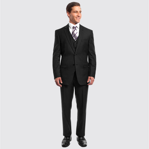 Black Pinstripe Modern Fit 3 Piece Suit