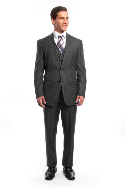 Grey Pinstripe Modern Fit 3 Piece Suit