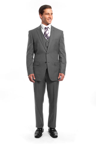Light Grey Pinstripe Modern Fit 3 Piece Suit