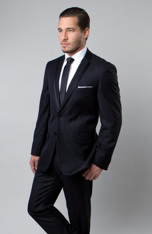 Black Satin Trim Notch Lapel Slim Fit Suit