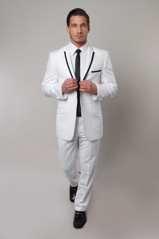 White Satin Trim Notch Lapel Slim Fit Suit