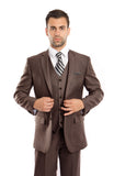 Brown Textured Modern Fit 3-Piece Suit