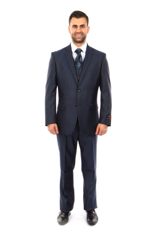 Navy Textured Modern Fit 3-Piece Suit