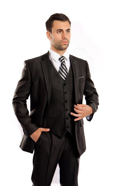 Black Textured Modern Fit 3-Piece Suit