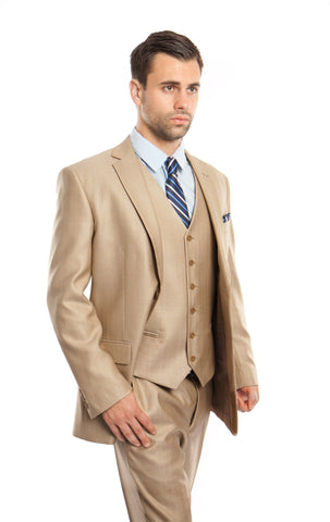 Stone Textured Modern Fit 3-Piece Suit