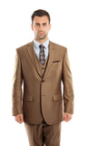 Toast Textured Modern Fit 3-Piece Suit