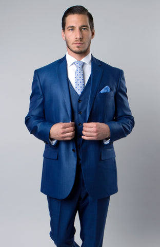 Blue Textured Modern Fit 3-Piece Suit