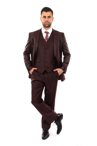 Burgundy Textured Modern Fit 3-Piece Suit