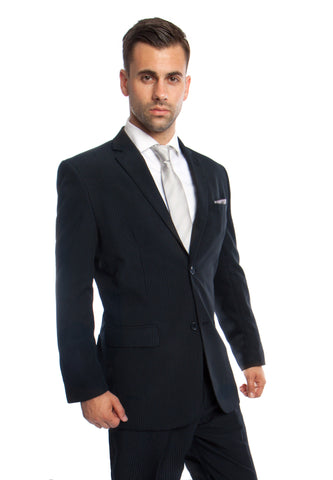 Navy 2 Piece Striped Modern Fit Suit