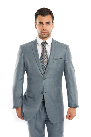 Smoke Blue Slim Fit Sharkskin Suit