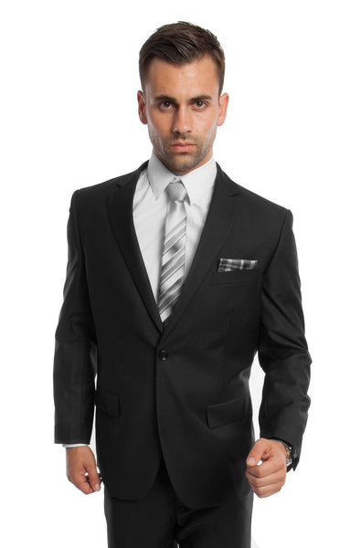 Black 2 Button Twill Modern Fit Suit