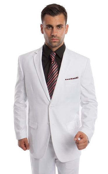 White 2 Button Twill Modern Fit Suit