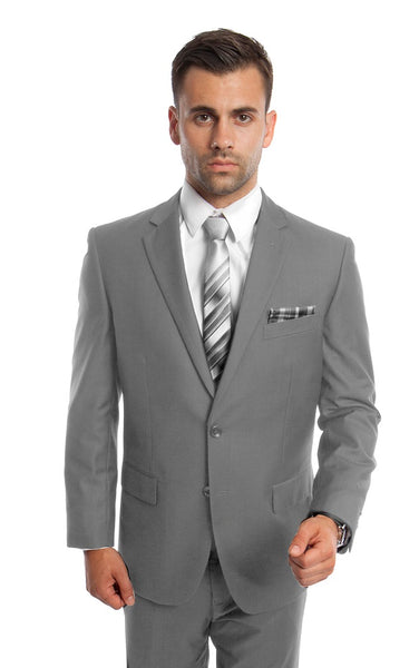 Light Grey 2 Button Twill Modern Fit Suit