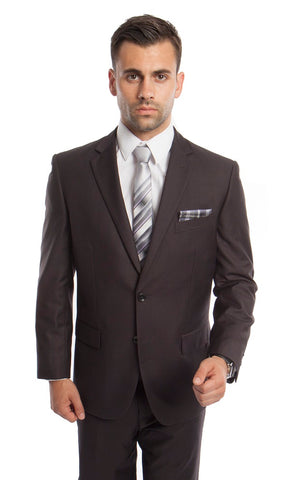 Charcoal 2 Button Twill Modern Fit Suit