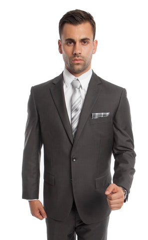 Grey 2 Button Twill Modern Fit Suit