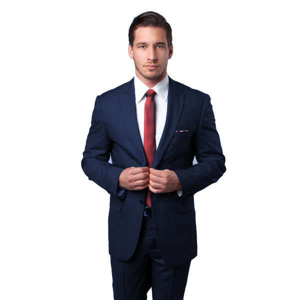 Navy Tonal Plaid Peak Lapel Suit