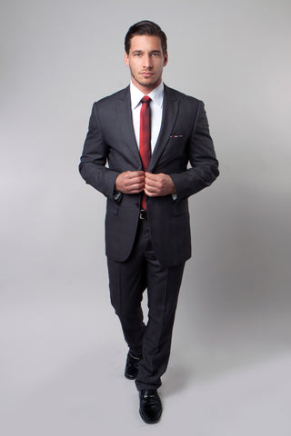 Grey Tonal Plaid Peak Lapel Suit