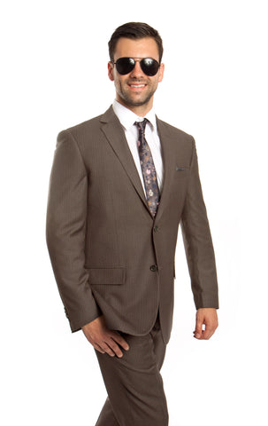 Taupe 100% Wool Stripe Suit