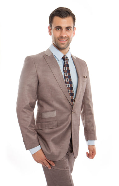 Tan Tic Two Tone 1 Button Suit