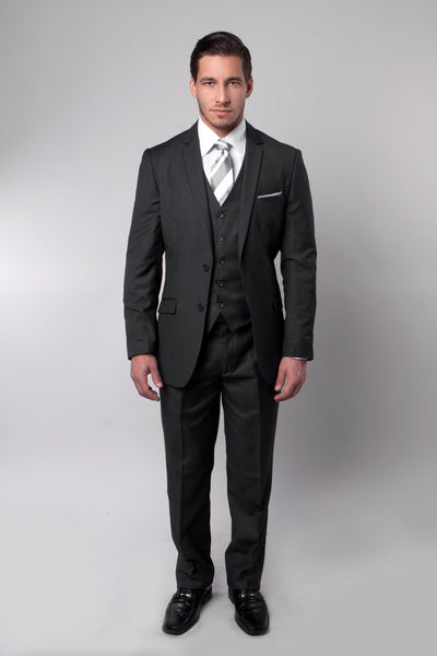 Black Two Button Pinstripe Vested Suit