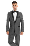 Grey 1 Button Satin Shawl Lapel Suit