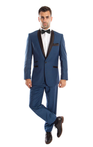 Blue 1 Button Satin Shawl Lapel Suit
