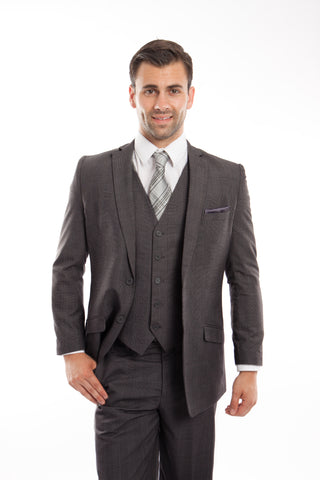 Dark Grey Glen Check 3 Piece Suit