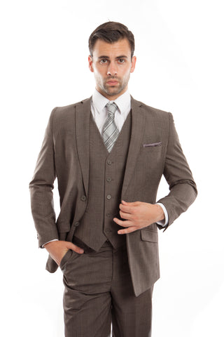 Brown Glen Check 3 Piece Suit
