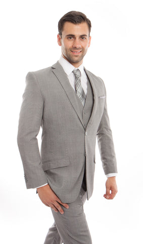 Light Grey Glen Check 3 Piece Suit
