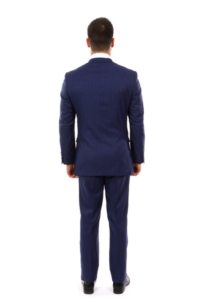 Dark Blue Windowpane 3 Piece Suit