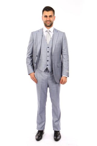 Light Blue Windowpane 3 Piece Suit