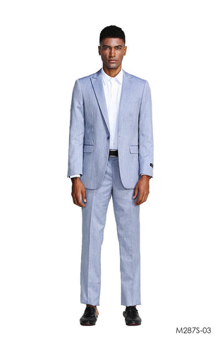 Light Blue Slim Fit Peak Lapel Suit