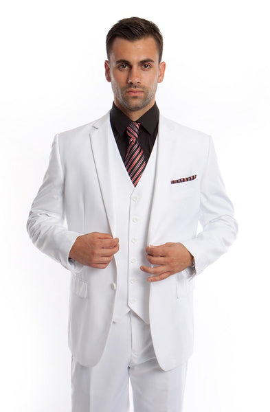 White Solid Modern Fit Vested Suit
