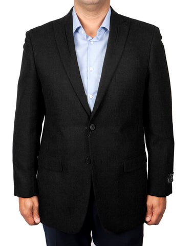 Black 100% Wool Slim Fit Tweed Sport Coat