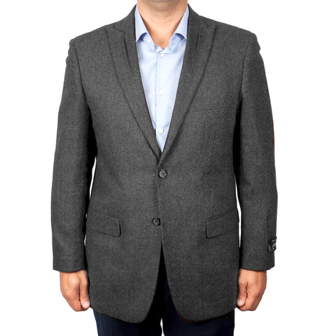 Grey 100% Wool Slim Fit Tweed Sport Coat