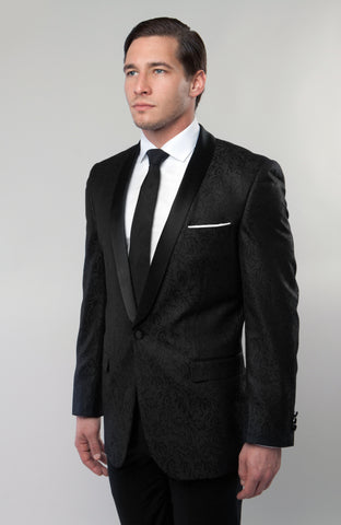 Black Damask Patterned Shawl Lapel Slim Fit Blazer